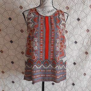 EUC  Cynthia Rowley Sleeveless Patterned Blouse S
